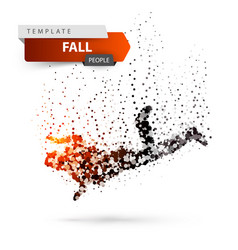 Man falls and jumps - color dot vector