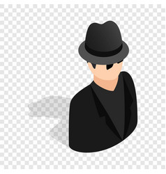 man in black sunglasses and black hat isometric vector image