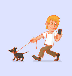 Man went for a walk with the dog he is vector