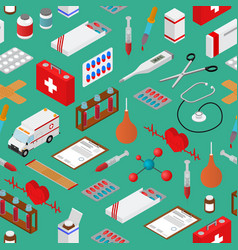 medical background pattern on a greenisometric vector image