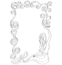 Mermaid frame with water flow mermaid coloring vector
