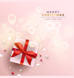 merry christmas red gift holiday decoration card vector image