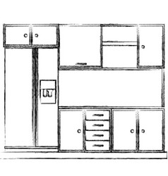 Monochrome sketch of kitchen cabinets with fridge vector