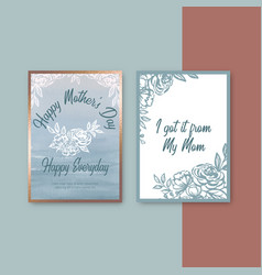 Mothers day pastel card with classic sketch vector