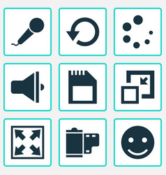 Multimedia icons set with sd card minimize vector