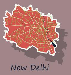 New delhi map sticker style design vector