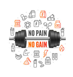 no pain no gain concept with black dumbbell vector image