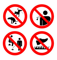 No pooping and peeing people and pets do not walk vector