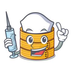 Nurse cartoon traditional bamboo for steamed food vector