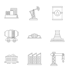 Oil icons set outline style vector