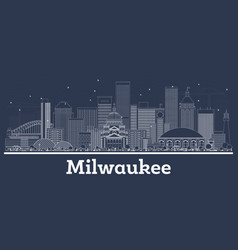 outline milwaukee wisconsin city skyline with vector image