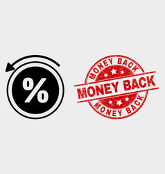 percent back icon and distress money back vector image