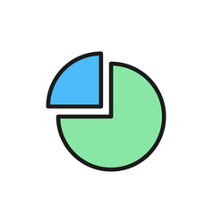 pie chart with segment flat color icon vector image