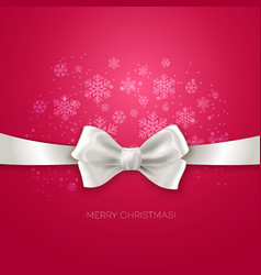 Pink Christmas background with white silk bow vector image