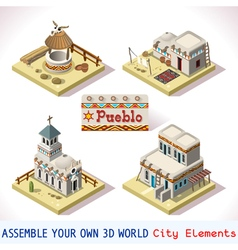 Pueblo Tiles 02 Set Isometric vector
