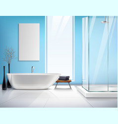 Realistic Bathroom Interior Design vector image