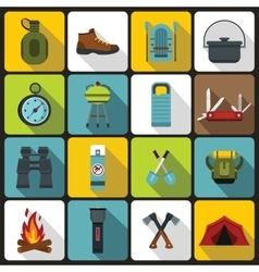Recreation tourism icons set flat style vector