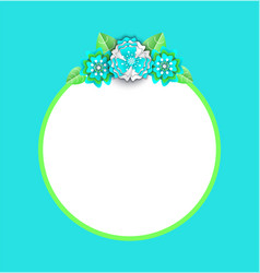 round frame with flowers and leaves on top vector image