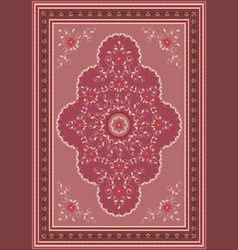 Rug floral design in pinkred and claret shades vector