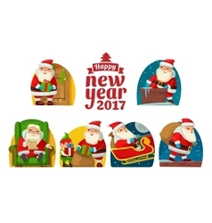 Santa Claus and elf Set flat vector image