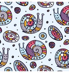 Seamless pattern of cartoon snails vector image