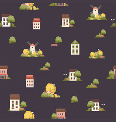 seamless pattern small houses two floors vector image