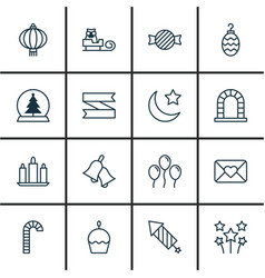 Set of 16 celebration icons includes crescent vector