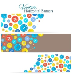 Set of 3 banners with vintage buttons vector image