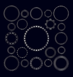 Set of round decorative silver geometric frame vector