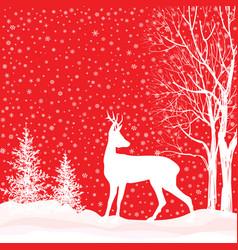 Snow winter landscape deer merry christmas card vector