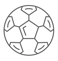 Soccer ball thin line icon sport and equipment vector