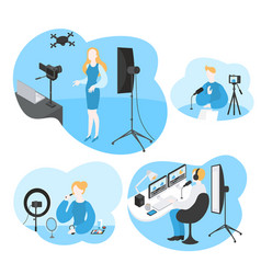 Software for video blogger filming media content vector