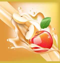Splash apple juice in motion vector