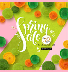 spring sale background with green paper flowers vector image