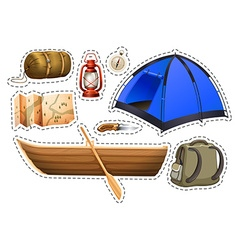 Sticker set of camping objects vector image