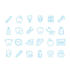 Stomatology icons dental teeth protection vector