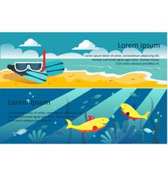 summer travel horizontal banners beach scuba vector image