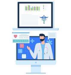 telemedicine online help from doctor screen vector image