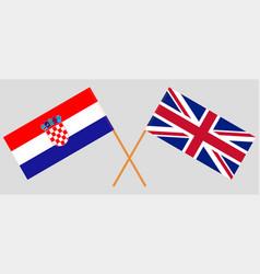 The uk and croatia british and croatian flags vector