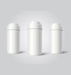 three white blank tin can packaging mockup vector image