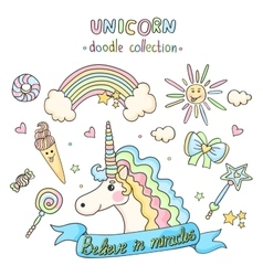 Unicorn set Doodle collection vector