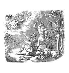 Vintage drawing biblical story angel vector