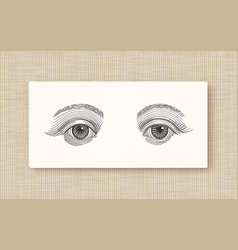 vintage engraved eyes tattoo flash hand drawn vector image