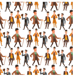 Vintage victorian cartoon gents retro people vector