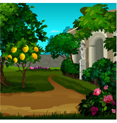 walking paths in the garden with ripe fruit of vector image