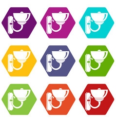Wall lamp icon set color hexahedron vector