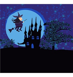 Witch flying on a broom in moonlight vector image