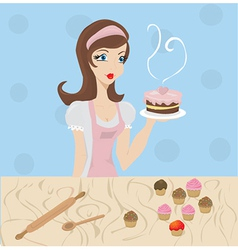 Woman baking vector