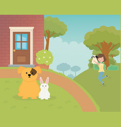 Woman carrying her dog and mascots sitting pet vector