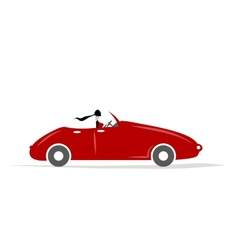 Woman driving red car for your design vector image